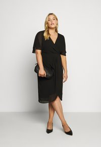 Forever New Curve - TORI SLEEVED WRAP OVER DRESS - Robe d'été - black - 1