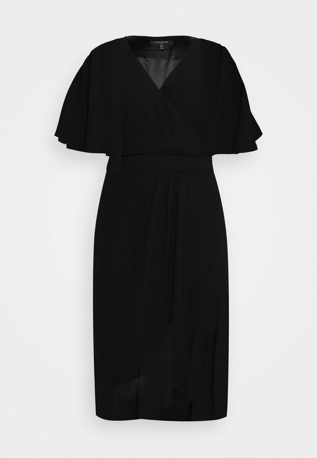 TORI SLEEVED WRAP OVER CURVE DRESS - Sukienka letnia - black