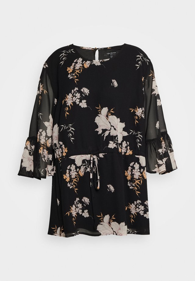 MOLLY FRILL SLEEVE CURVE BLOUSE - Pusero - black
