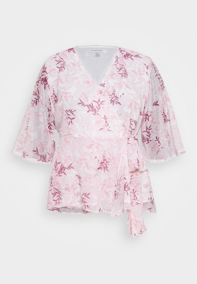 IMOGEN FLUTTER WRAP BLOUSE - Blus - blush sunset
