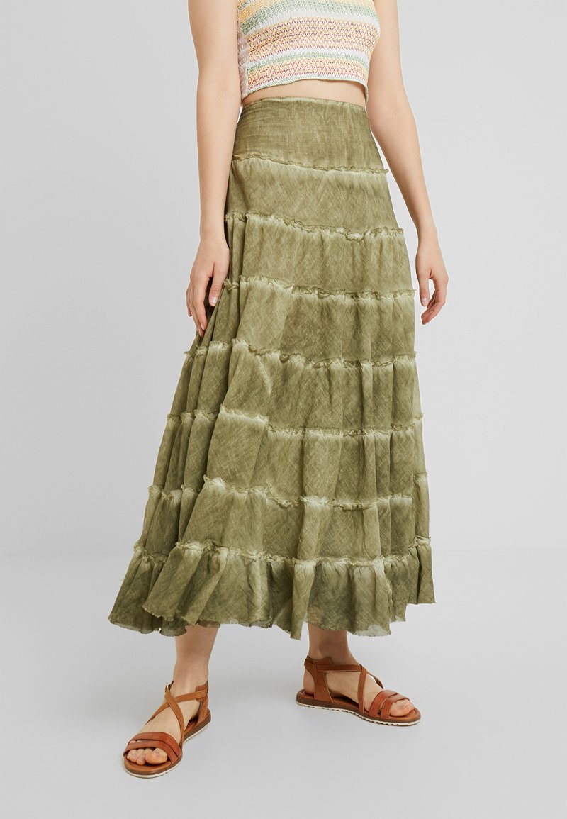Free People - STUCK IN A MOMENT SKIRT - Długa spódnica - moss