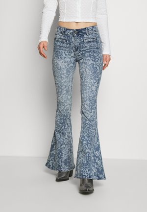 DREAM LOVER FLARE PRINTED - Jeansy Dzwony - blue