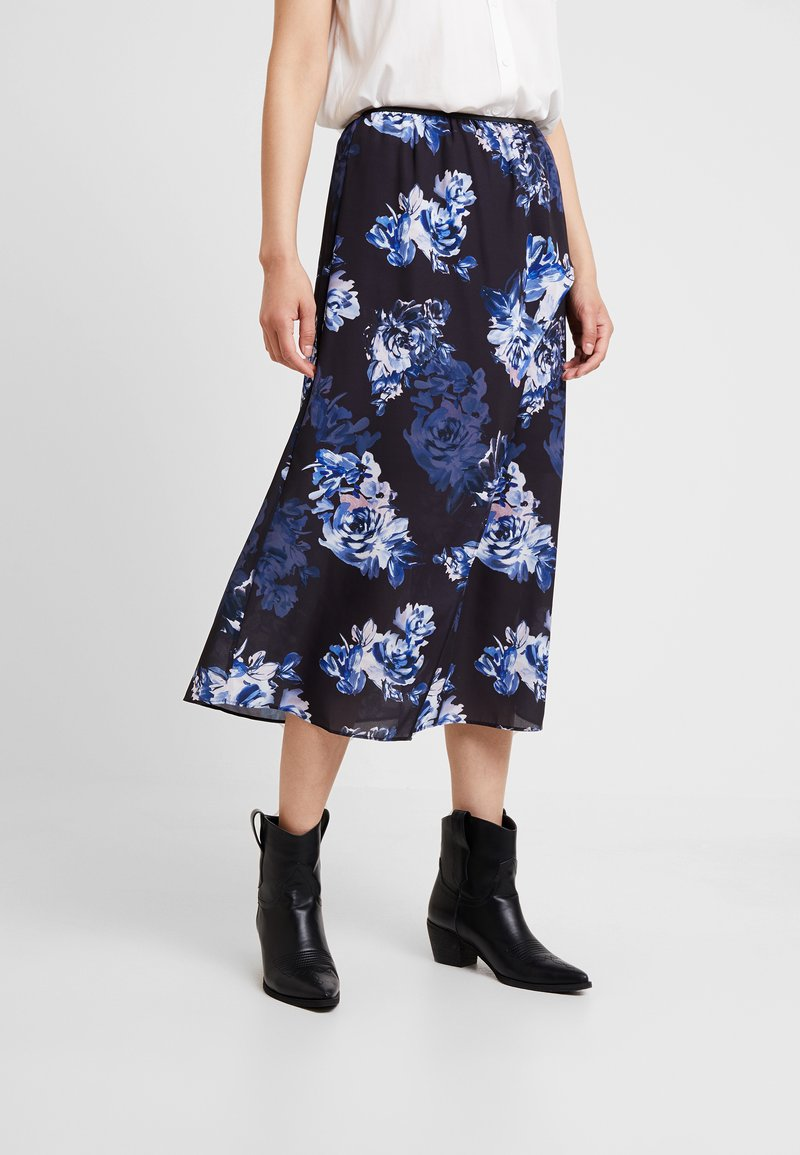 French Connection - CATERINA MIDI WRAP - Wrap skirt - utility blue multi