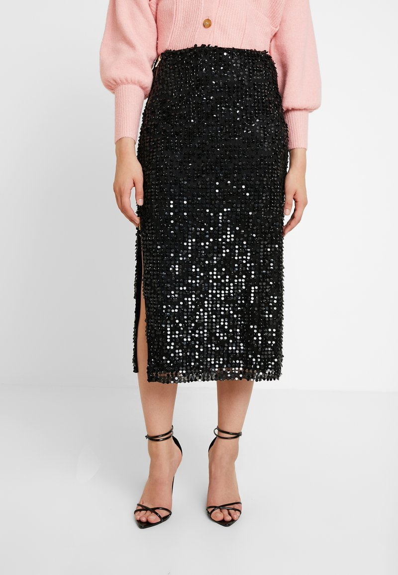 French Connection - DESIREE SEQUIN SKIRT - Pencil skirt - black