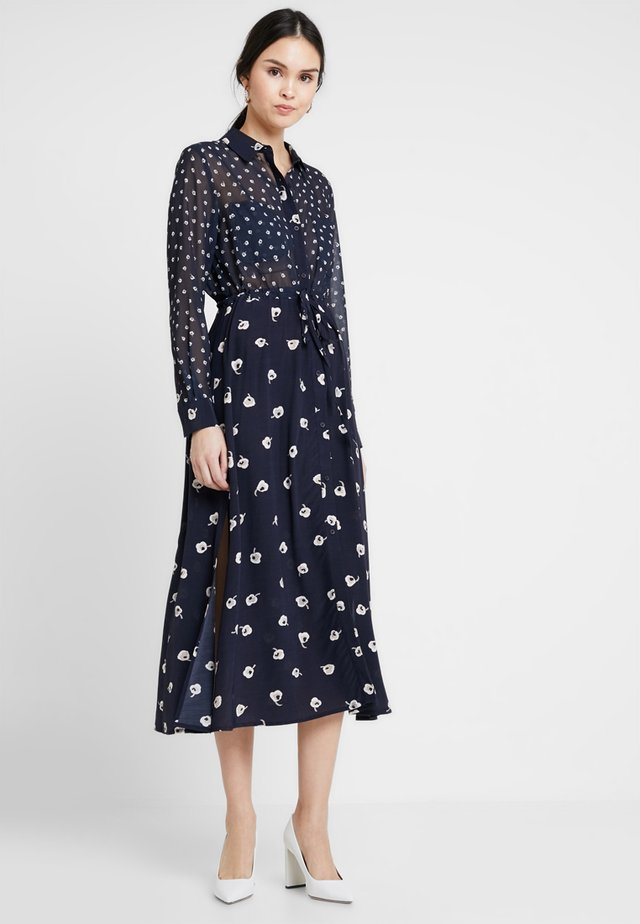 ADELISE DRAPE MIDI DRESS - Shirt dress - utility blue