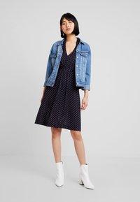 French Connection - POLKA DOT DRESS - Jersey dress - dark blue/white - 1
