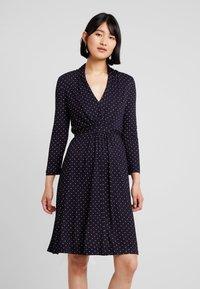 French Connection - POLKA DOT DRESS - Jersey dress - dark blue/white - 0
