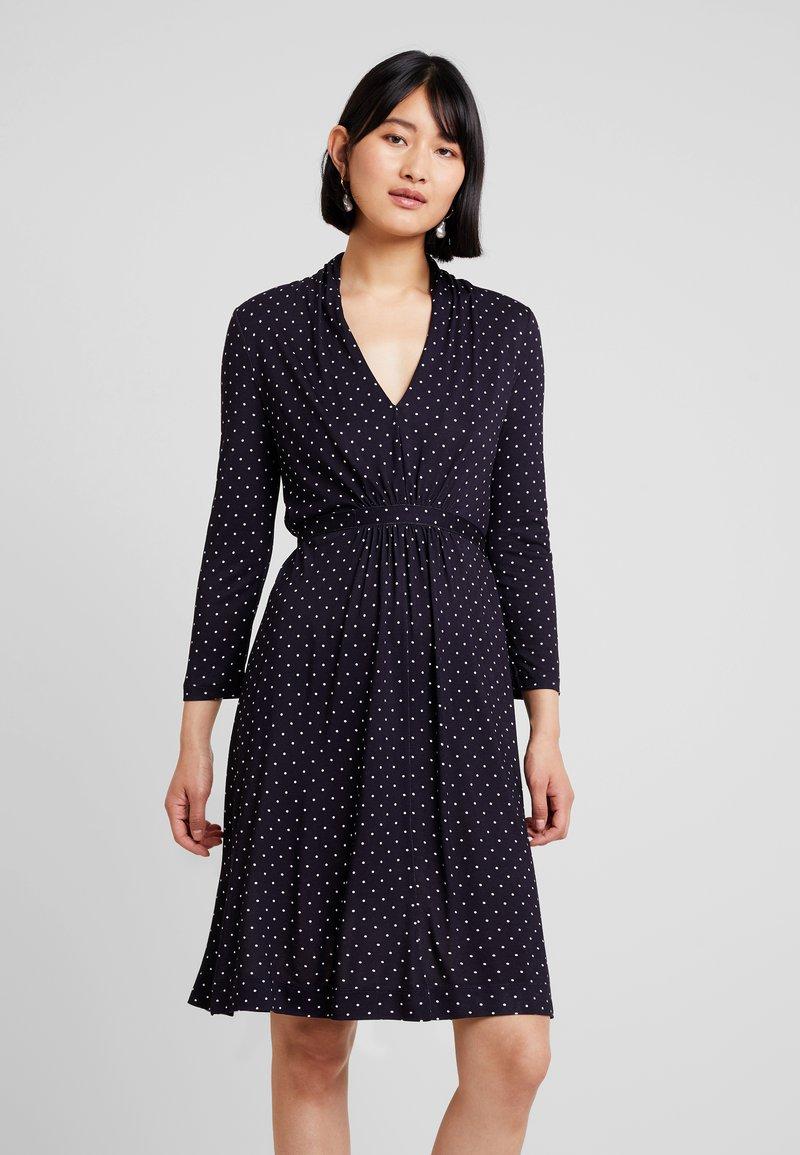 French Connection - POLKA DOT DRESS - Jersey dress - dark blue/white