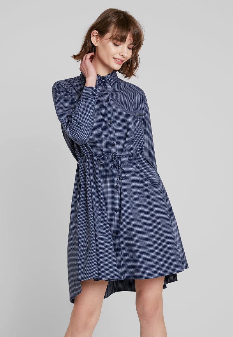 French Connection - MATTIA CHECK DRAWSTRNG - Shirt dress - dark blue/white