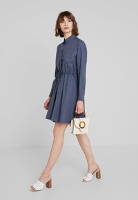 French Connection - MATTIA CHECK DRAWSTRNG - Shirt dress - dark blue/white - 2