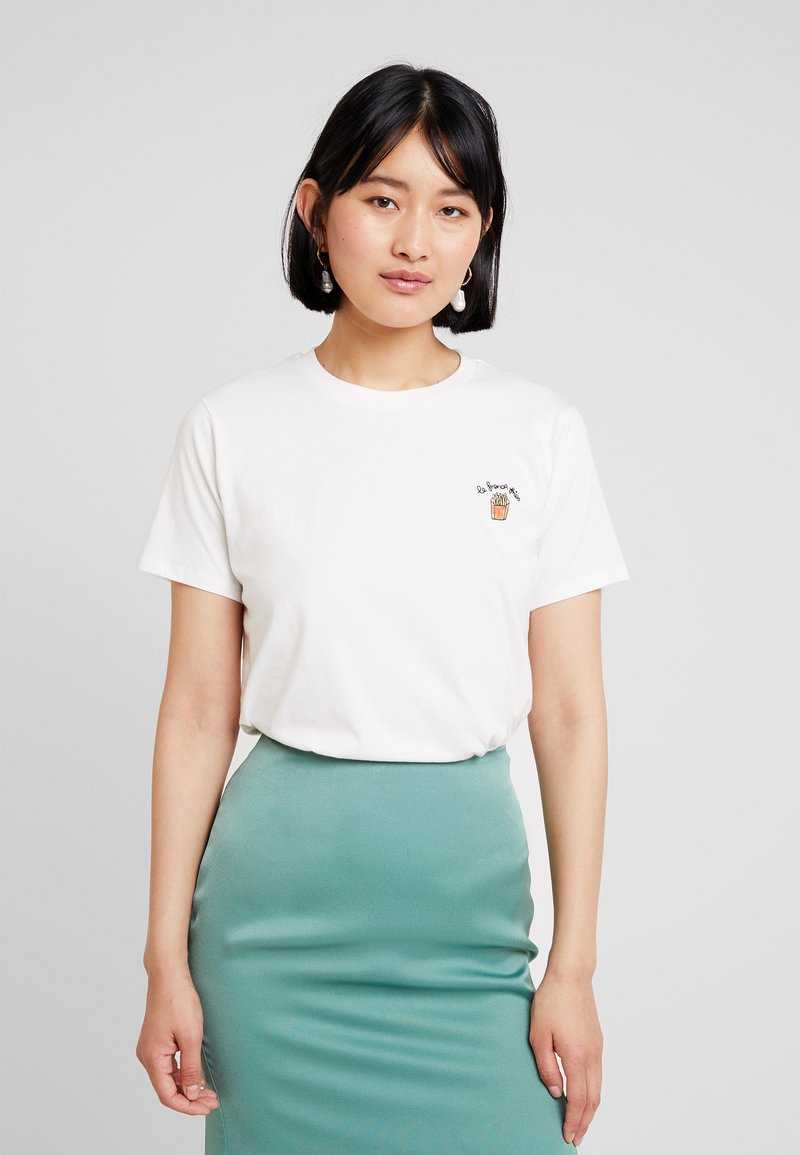 French Connection - LE FRIES TEE - Print T-shirt - winter white