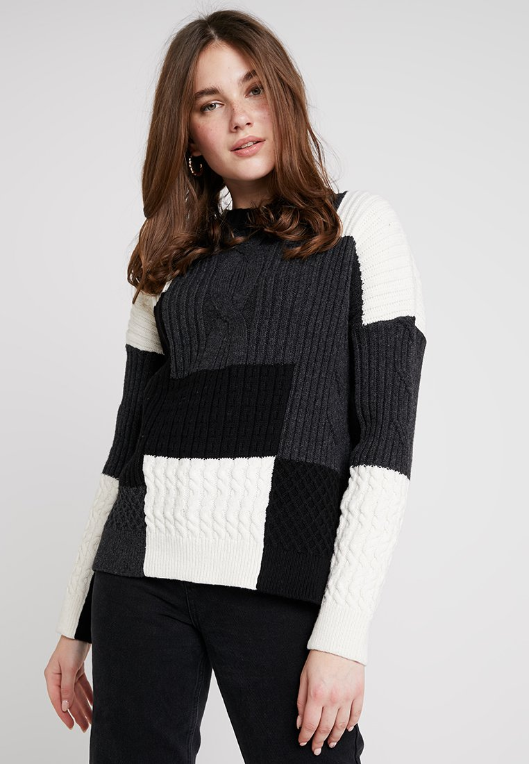 French Connection - AMIE PATCH - Strikpullover /Striktrøjer - black/winter white/mid grey melange