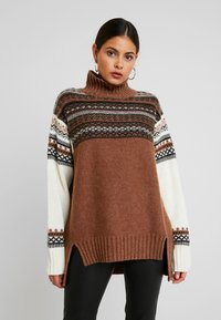 French Connection - PATCHWORK FAIRISLE  - Jumper - camel/multi - 0