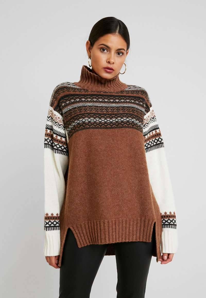 French Connection - PATCHWORK FAIRISLE  - Jumper - camel/multi
