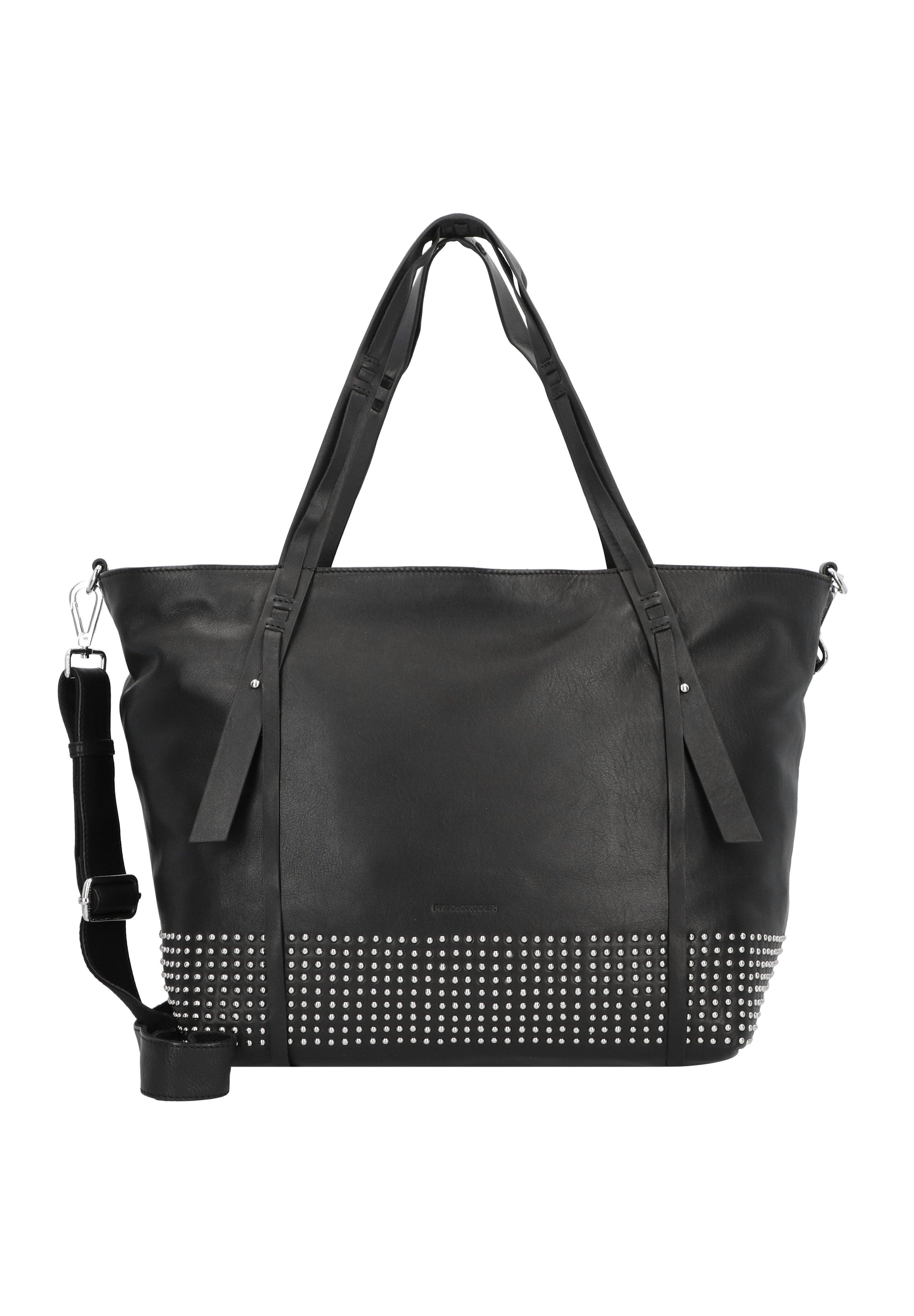 Fredsbruder Pin Up Shopper Tasche Leder 33 Cm - Cabas Black/silver