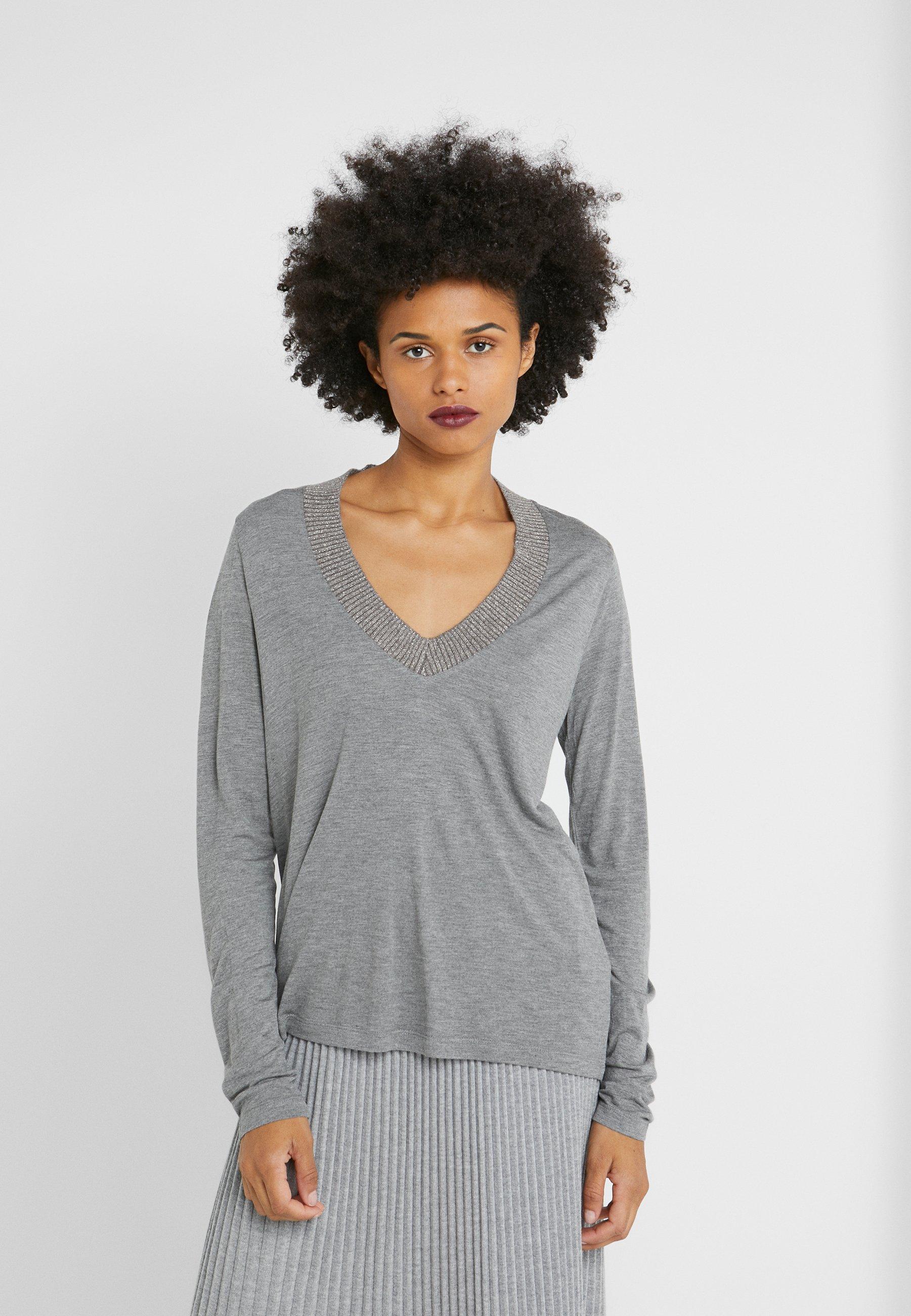 Maglietta Grey Ftc Cashmere A Lunga Manica Mottled DIe9YHEW2