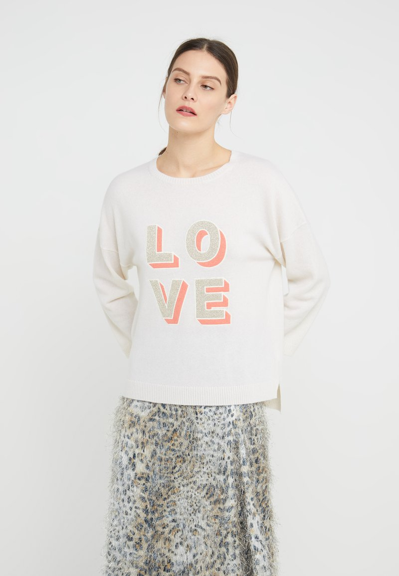 FTC Cashmere - LOVE JUMPER - Strickpullover - white/champagne/yellow