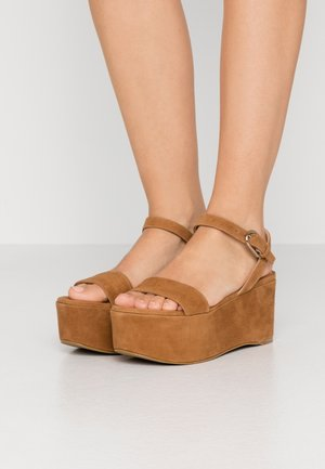 ZONE WEDGE - Platform sandals - cognac