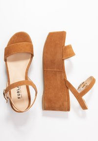 Furla - ZONE WEDGE - Platform sandals - cognac - 3