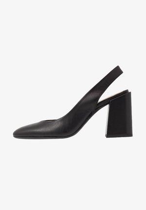 BLOCK SLING-BACK - High heels - nero