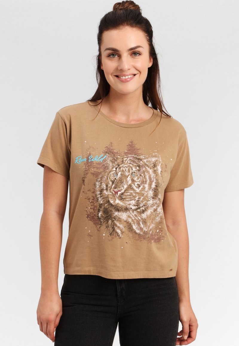Funky Buddha - T-shirt z nadrukiem - beige