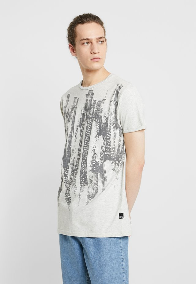 T-shirt med print - light grey melange
