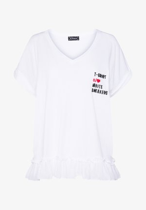 V NECK WITH VOLANT - T-shirt con stampa - white