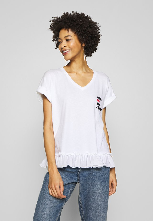 V NECK WITH VOLANT - T-shirt med print - white