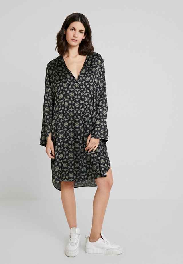 GEOMETRIC FLOWERS - Day dress - darkgreen