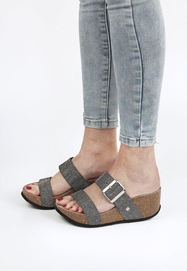 Sandalen met sleehak - anthrazit