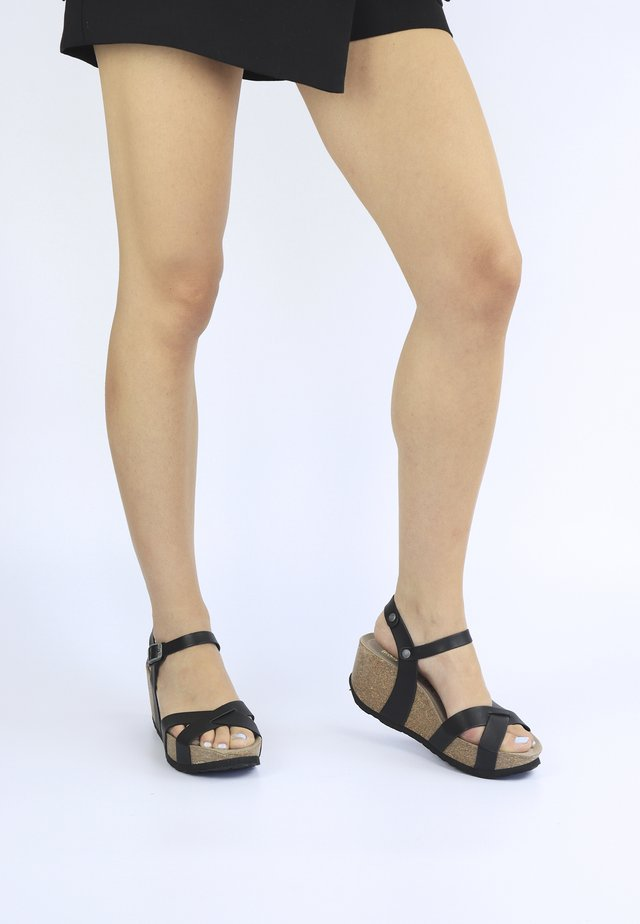 CANNES VACHETTA - Sandalen met plateauzool - schwarz