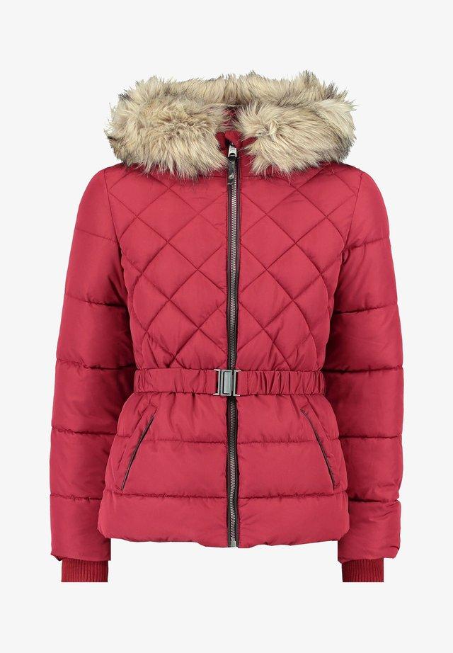 PUFFER WITH WAIST BELT - Winter jacket - red