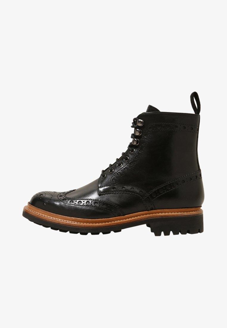 Grenson - FRED COMMANDO - Šněrovací kotníkové boty - black
