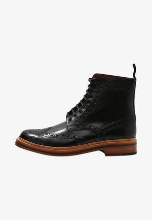 FRED - Lace-up ankle boots - black calf