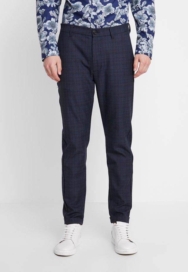 ROME CHECK PANTS - Stoffhose - blue