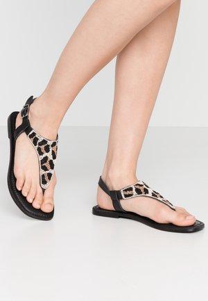 NEWFANE - T-bar sandals - black/brown