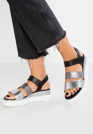 Sandalen met plateauzool - silber/stone/schwarz