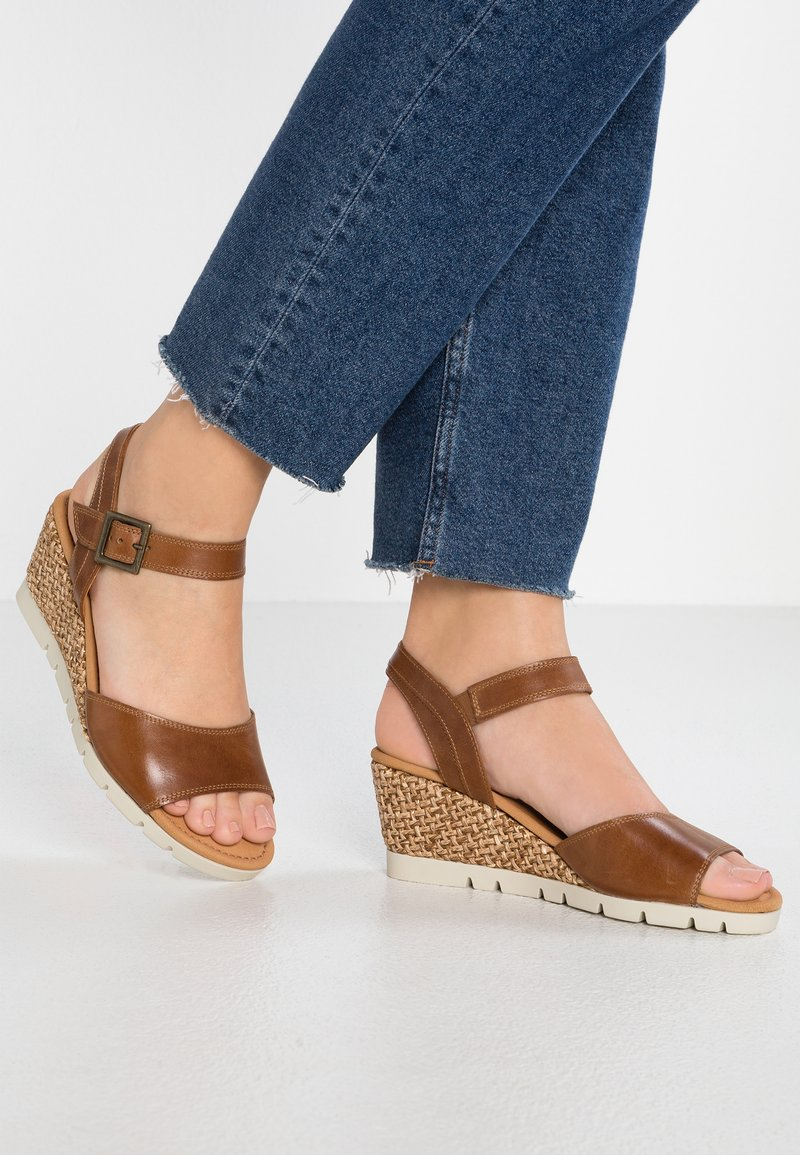 Gabor - WIDE FIT - Wedge sandals - peanut