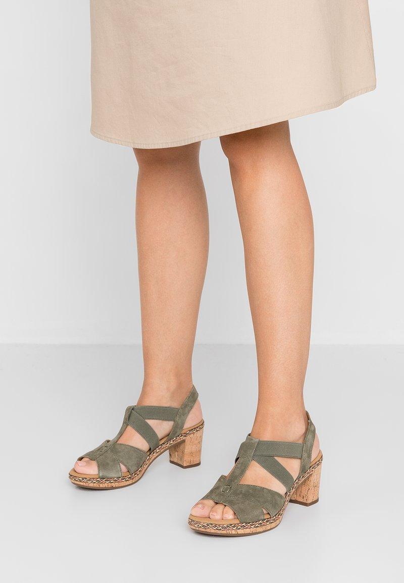 Gabor - WIDE FIT - Platform sandals - oliv