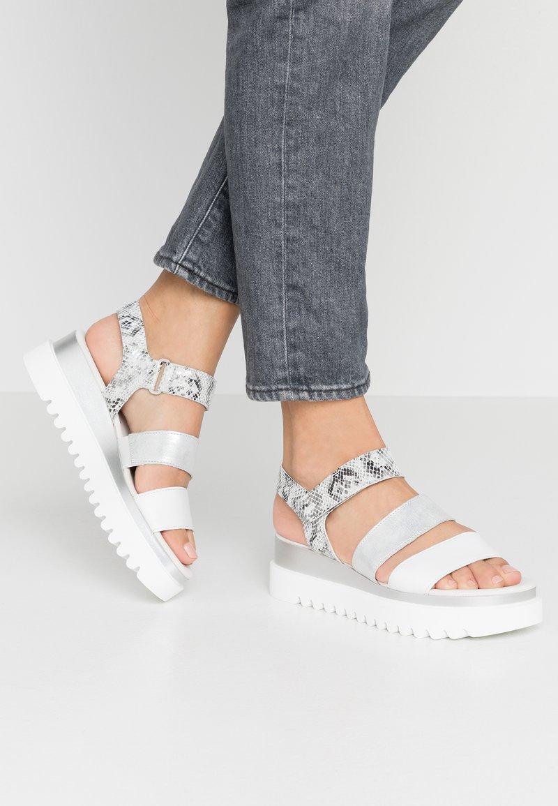Gabor - Platform sandals - weiß/argento