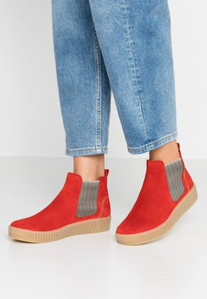 Ankle Boot - rot/beige/natur