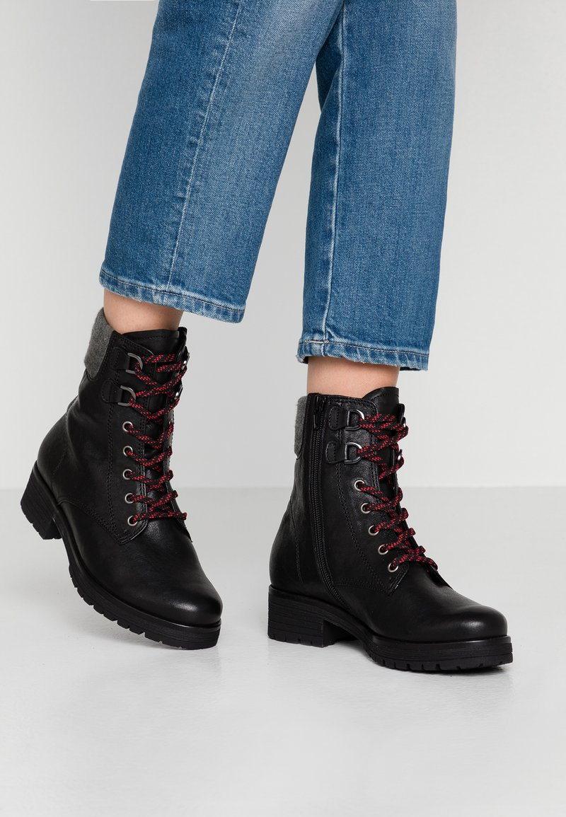 Gabor - WIDE FIT - Lace-up ankle boots - black