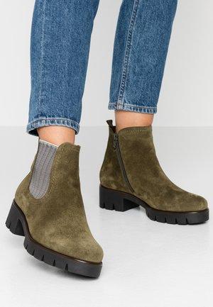 Kotníková obuv - oliv/beige