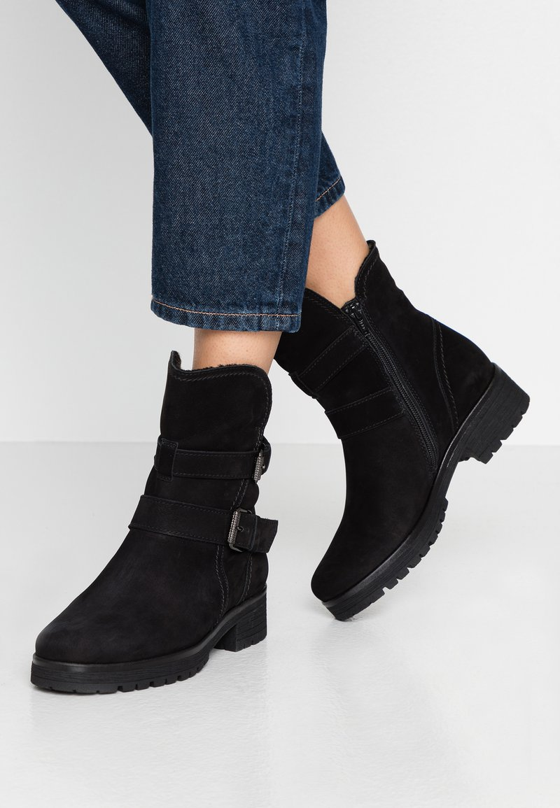 Gabor - WIDE FIT - Platform ankle boots - schwarz