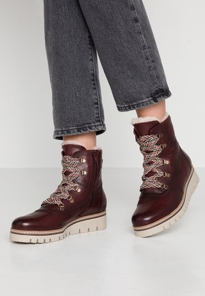 Platform ankle boots - merlot