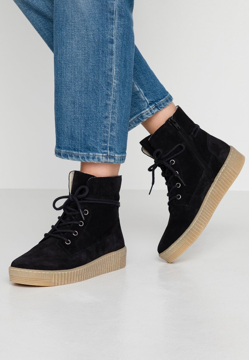 Gabor - Lace-up ankle boots - pazifik