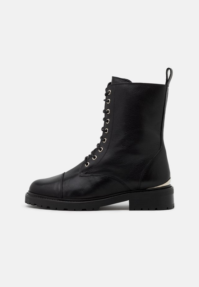ODE  - Lace-up ankle boots - allover acquario black