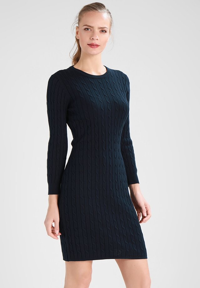 STRETCH CABLE DRESS - Vestido de punto - evening blue