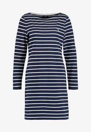 BRETON STRIPE BOATNECK DRESS - Vestito di maglina - evening blue