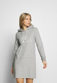 GANT - LOCK UP HOODIE DRESS - Denní šaty - grey melange - 0